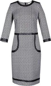 Sukienka Fokus z okrągłym dekoltem ze skóry ekologicznej