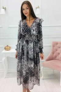 Sukienka N/A z długim rękawem z dekoltem w kształcie litery v w stylu casual