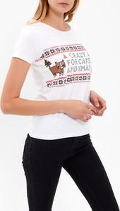 T-shirt Gate z okrągłym dekoltem w bożonarodzeniowy wzór z bawełny