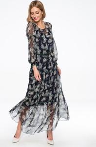 Granatowa sukienka POTIS & VERSO z szyfonu z długim rękawem