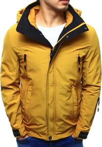 Dstreet kurtka męska przejściowa z kapturem żółta (tx2099)