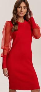 Czerwona sukienka Renee mini z długim rękawem