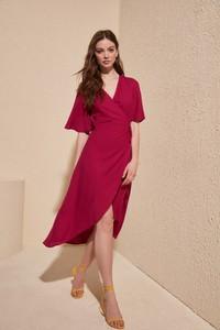 Czerwona sukienka Trendyol z krótkim rękawem