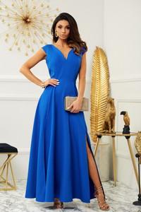 Niebieska sukienka Marconifashion z dekoltem w kształcie litery v