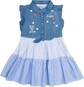 Niebieska sukienka dziewczęca Mayoral w paseczki