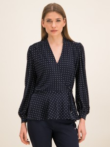 Granatowa bluzka Ralph Lauren z dekoltem w kształcie litery v z długim rękawem