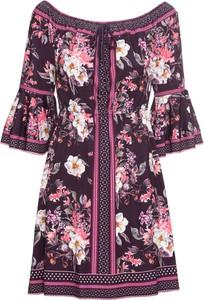 Różowa sukienka bonprix BODYFLIRT z długim rękawem z dżerseju w stylu casual