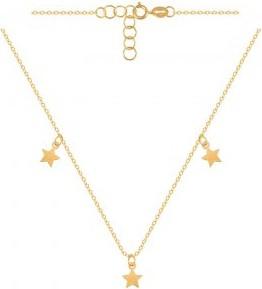 Lovrin Złoty naszyjnik 585 o ankrowym splocie z trzema malutkimi przywieszkami gwiazdkami