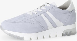 Niebieskie buty sportowe Tamaris ze skóry sznurowane