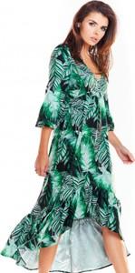 Sukienka Awama asymetryczna maxi z dekoltem w kształcie litery v
