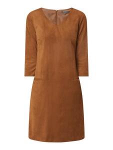 Brązowa sukienka Montego mini z długim rękawem z dekoltem w kształcie litery v