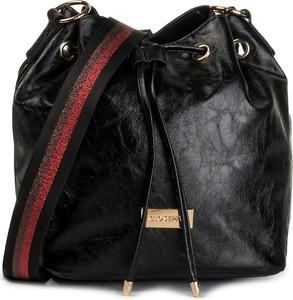 Czarna torebka GIOSEPPO z kolorowym paskiem w młodzieżowym stylu średnia