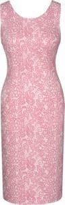 Sukienka Fokus z okrągłym dekoltem dopasowana z żakardu