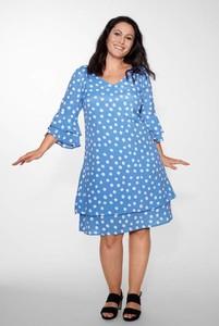 Niebieska sukienka Cellbes z długim rękawem mini z dekoltem w kształcie litery v