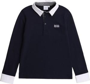 Granatowa bluzka dziecięca Hugo Boss z długim rękawem