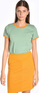 T-shirt Gate w stylu casual z krótkim rękawem z bawełny
