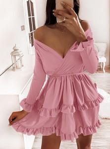 Sukienka Pakuten kopertowa z długim rękawem mini