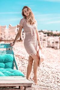 Sukienka Fobya z krótkim rękawem z bawełny w stylu casual