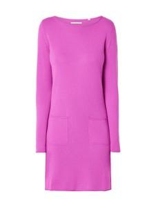 Różowa sukienka Christian Berg Women z okrągłym dekoltem midi w stylu casual