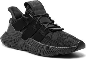 Czarne buty sportowe Adidas sznurowane ze skóry ekologicznej