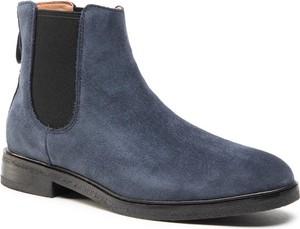 Granatowe buty zimowe Clarks ze skóry