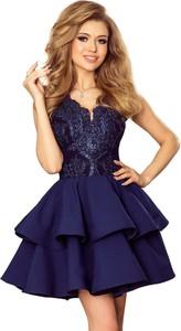 Niebieska sukienka Moda Dla Ciebie bez rękawów mini rozkloszowana