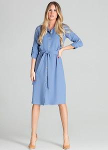 Niebieska sukienka Figl midi z długim rękawem w stylu casual