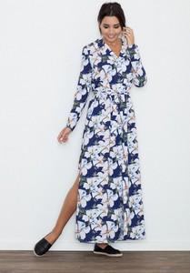 Niebieska sukienka Figl z dekoltem w kształcie litery v z długim rękawem maxi