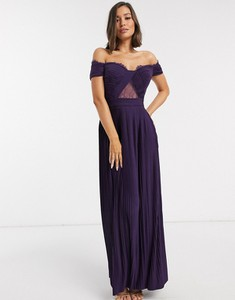 Fioletowa sukienka Asos Design maxi z krótkim rękawem