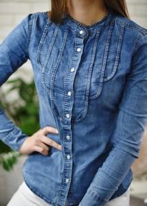 Niebieska koszula Fason w stylu casual z okrągłym dekoltem