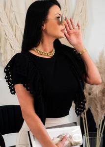 Czarna bluzka Fason w stylu boho z bawełny z okrągłym dekoltem