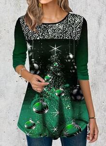 Zielona bluzka Cikelly z długim rękawem z okrągłym dekoltem