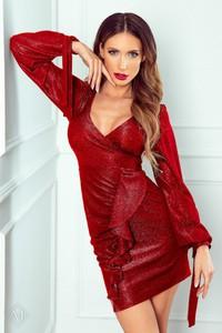 Czerwona sukienka Moda Dla Ciebie kopertowa z długim rękawem