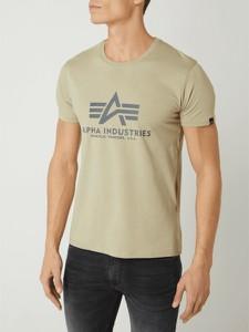 Zielony t-shirt Alpha Industries z krótkim rękawem w młodzieżowym stylu