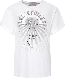T-shirt Twinset w stylu casual z krótkim rękawem z okrągłym dekoltem