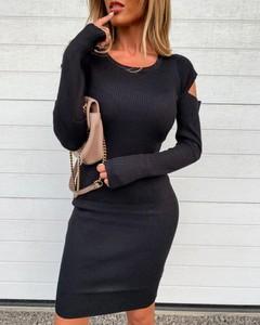 Sukienka Kendallme dopasowana z długim rękawem z okrągłym dekoltem