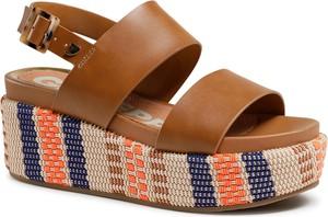 Brązowe sandały GIOSEPPO w stylu casual na platformie ze skóry ekologicznej