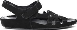 Czarne sandały Royalfashion.pl na niskim obcasie na rzepy