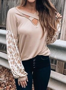 Bluzka Cikelly z długim rękawem z dekoltem w kształcie litery v w stylu casual