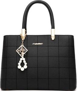 Czarna torebka Savani z breloczkiem w stylu glamour ze skóry ekologicznej