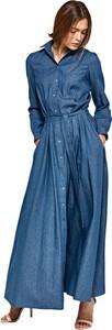 Sukienka Nife z kołnierzykiem z długim rękawem maxi