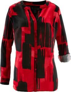 Czerwona koszula bonprix bpc selection z długim rękawem z dekoltem w kształcie litery v