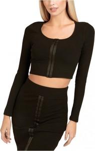Czarna bluzka Guess z długim rękawem z okrągłym dekoltem