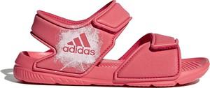 Różowe buty dziecięce letnie Adidas w paseczki
