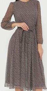 Brązowa sukienka Arilook midi w stylu boho