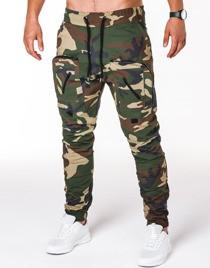 Zielone spodnie Ombre Clothing w militarnym stylu