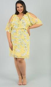 Żółta sukienka KARKO dla puszystych