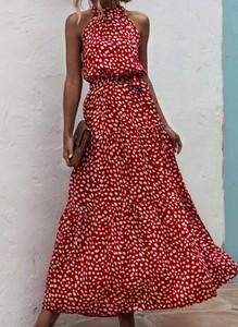 Czerwona sukienka Sandbella hiszpanka maxi