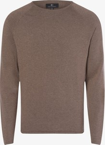 Brązowy sweter Nils Sundström z dzianiny w stylu casual z okrągłym dekoltem