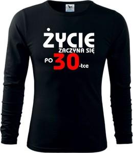 Czarna koszulka z długim rękawem TopKoszulki.pl z długim rękawem z bawełny